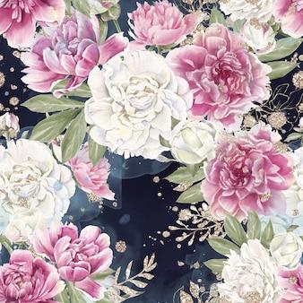 繊細な花のバラのシームレスなパターン。水彩イラスト