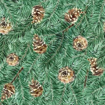 Бесшовные модели еловых сосновых веток и шишек акварель твердые иллюстрации на новый год