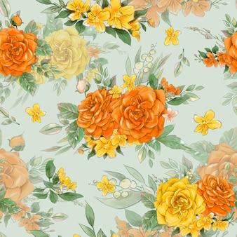 Бесшовный фон из цветов. желтые и оранжевые розы.