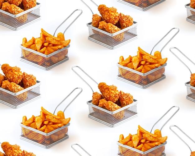 白い背景の上の揚げ鶏肉とジャガイモの揚げバスケットのシームレスなパターン