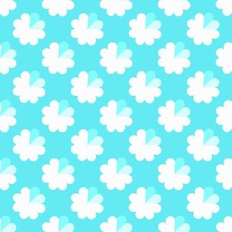 하트와 파란색 표면에 꽃의 완벽 한 패턴