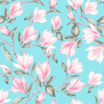 マグノリアのシームレスパターン春の花の水彩画ボタニカルイラスト。お祝い、結婚式、招待状のはがき。花のテキスタイルデザイン。