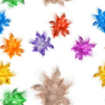 Бесшовный фон из многих цветных порошковых взрывов на белой поверхности