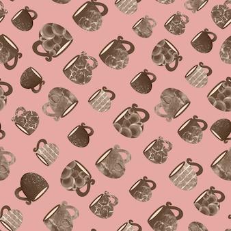 분홍색 배경 handdrawn 그림에 머그잔과 컵의 완벽 한 패턴