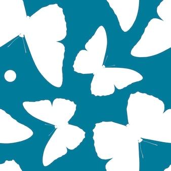 蝶のシルエットのシームレスなパターン。美しい昆虫の自然な背景。