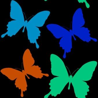 나비의 실루엣의 완벽 한 패턴입니다. 아름다운 곤충의 자연 배경입니다.