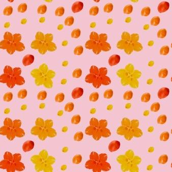 繊細なピンクの背景に小さなシンプルな水彩花のシームレスなパターン、生地のプリント、さまざまなデザインの背景、子供の水彩パターン