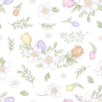 Бесшовный фон из весенних красивых цветов нарциссов и тюльпанов.