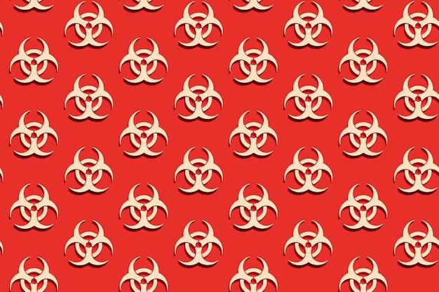 Бесшовный фон символа предупреждения о биологической опасности на красном фоне. вирус эпидемии коронавируса. биологическая опасность, радиоактивные, токсичные отходы.