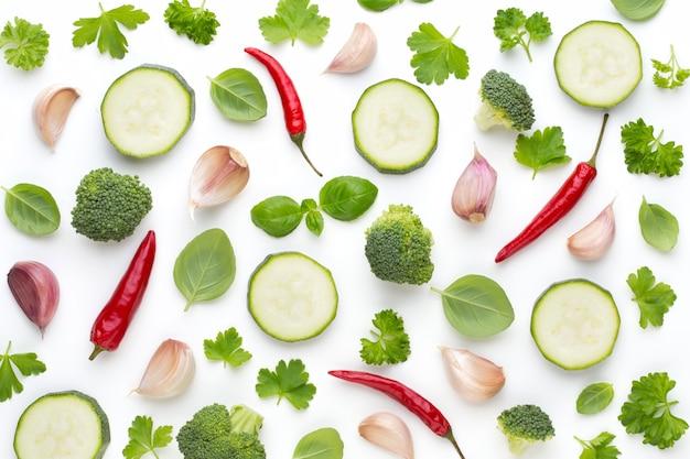 白の野菜のシームレスなパターン