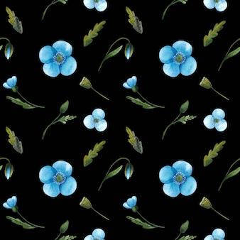 Бесшовный фон из акварельных синих маков и зеленых листьев, изолированных на черном фоне. нежный цветочный принт отлично подходит для текстиля, оберточной бумаги, дизайна упаковки.
