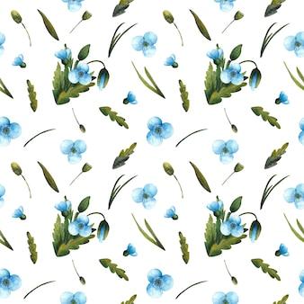 Бесшовный фон акварель синих маков и зеленых листьев, изолированные на белом фоне. нежный цветочный принт отлично подходит для текстиля, оберточной бумаги, дизайна упаковки.