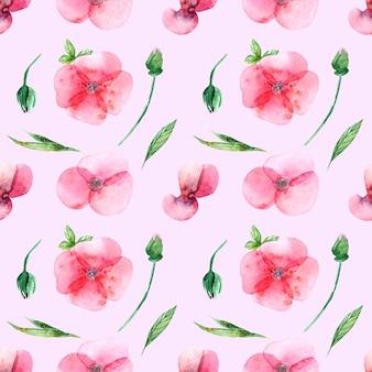 ピンクの背景に水彩花、つぼみ、葉のシームレスなパターン。結婚式の印刷、ギフト、ポストカード、布地に。