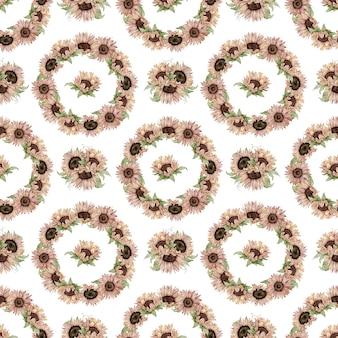 緑の葉と水彩ひまわりのシームレスなパターン。花の花輪。