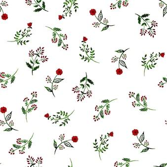 白に描かれた野生の花の水彩画のシームレスなパターン