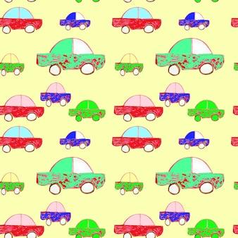 노란색 배경, 수채화 빈티지 손으로 그린 그림에 완벽 한 패턴입니다. 연속으로 복고풍 자동차의 멀티 컬러 질감.