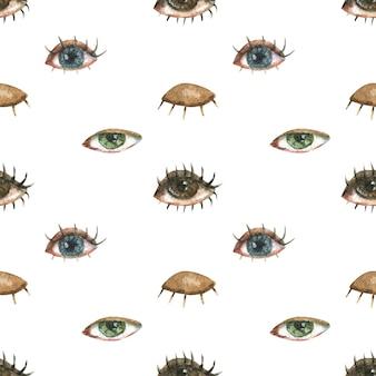 Lgbtのトピックに関するシームレスなパターン。別の女性の目のイラスト。