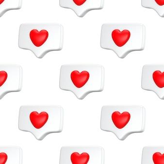 Бесшовные шаблон один как уведомление в социальных сетях со значком сердца. минимальная концепция социальные медиа концепция любви 3d визуализации