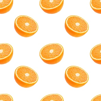 Seamless pattern of oranges fruit isolated on white