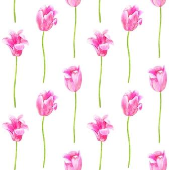 シームレスパターン。ピンクのチューリップ。手描きの水彩イラスト。孤立。印刷、ファブリック、テキスタイル、壁紙のテクスチャ。