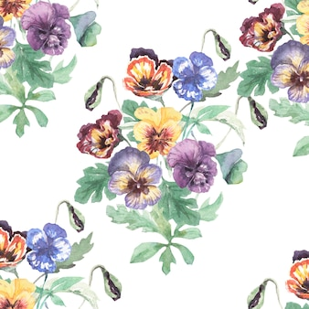 シームレスなパターン、プリント、テキスタイル手描き水彩イラスト春夏の自然