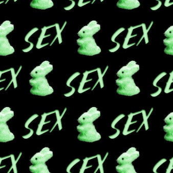 Seamless pattern of rabbits with the word sex isolated on a black background. high quality photo