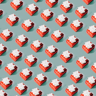 Seamless pattern of red gift boxes