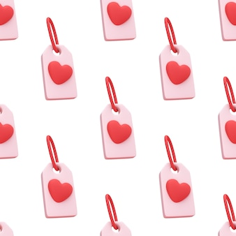 Seamless pattern red heart tag icon isolated on cute background