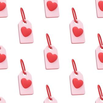 Бесшовный фон красное сердце значок тега, изолированные на милый фон
