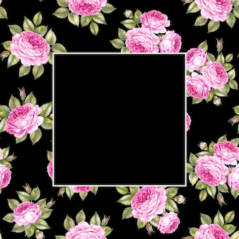Seamless pattern of rose flowers bouquet over black and empty rectangle at the center.