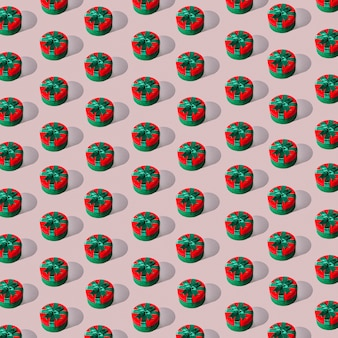Seamless pattern of round gift boxes