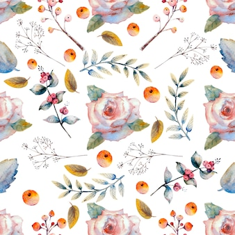 Seamless pattern. set of flower branches. pink rose flower, green leaves, red