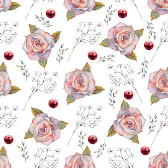 Бесшовные модели. набор цветочных ветвей. розовый цветок розы, зеленые листья, красный