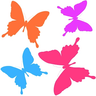 Seamless pattern of silhouettes of butterflies. natural background of beautiful insects.