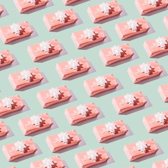 Seamless pattern of small gift boxes