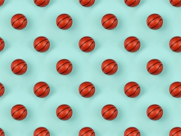 Seamless pattern of small orange ball for basketball sport game on blue background.