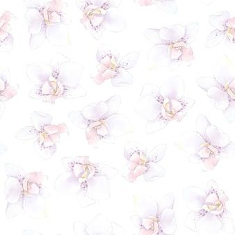 완벽 한 패턴입니다. 봄 섬세한 난초 꽃. 디지털 인쇄.