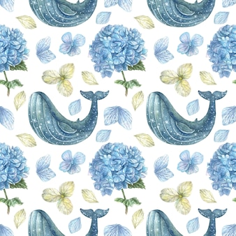 Seamless pattern stars and blue hydrangea with petals and flowers of blue and white color hand drawn