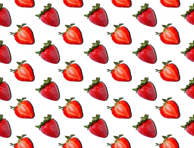 Seamless pattern of strawberry. food concept. summer minimalism. flat lay