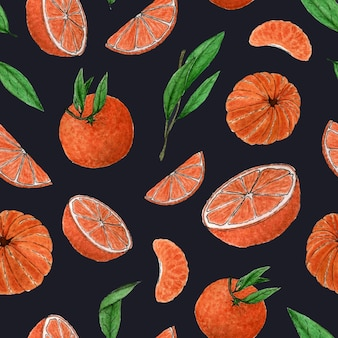 Seamless pattern of tangerinestwigsleavestangerine sliceswatercolor citrus pattern hand drawing
