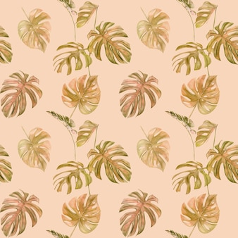 Seamless pattern of tropical leaf monstera