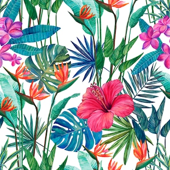 Seamless pattern of tropical plants and flowers on a white background