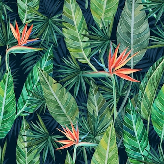 Seamless pattern of tropical strelitzia plants and palm trees