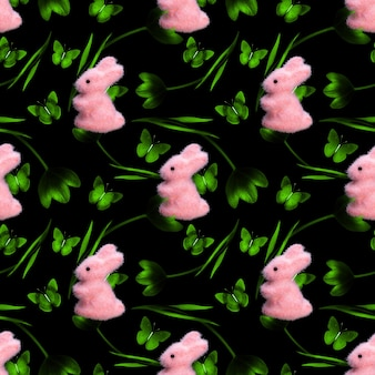 Seamless pattern of tulips with rabbits isolated on black. high quality photo