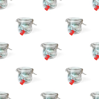 체인 및 마스터 키에 의해 잠겨 유리 항아리에 원활한 패턴 미국 달러 지폐. 냄비에 돈
