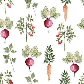 Бесшовный фон овощи акварель, нарисованные на белом