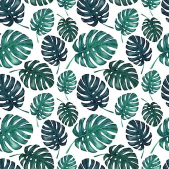 Seamless pattern of watercolor blue monstera leaves.