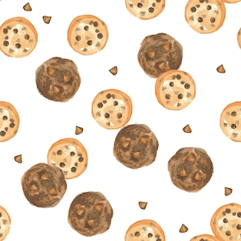 Seamless pattern watercolor chocolatechip and chocolate cookie