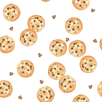 Seamless pattern watercolor chocolatechip cookie