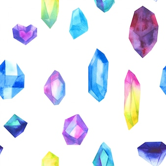 Seamless pattern watercolor colorful crystals isolated on white.